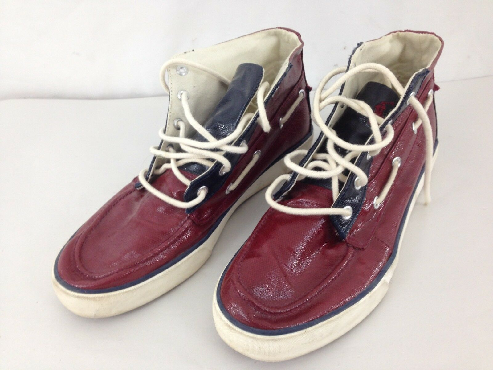 Primary image for Ralph Lauren Polo Mens 10D Burgundy Lace Up Lander Chukka Sneakers Shoes