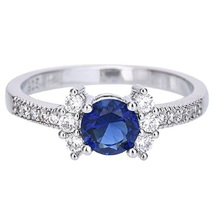 Blue Sapphire Solitaire With Accents Ring White Gold Plated 925 Sterling... - ₹5,528.11 INR