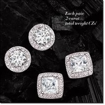 Avon Brilliant CZ Stud Earrings Round - $8.99