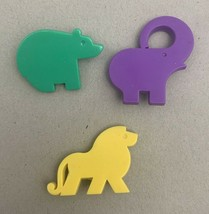 Tupperware Animal Pin Lot Pins Brooches Lion Bear Elephant Vintage Plast... - $10.90