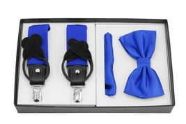 Berlioni Italy Formal Tuxedo Bow Tie Convertible Suspenders Hanky Gift Box Set image 6
