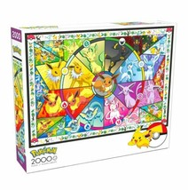 2000 Piece Jigsaw Puzzle Buffalo Games 38 in x 26 in, Pokemon Stained Glass NEW - $31.30