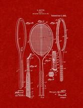 Tennis Racket Patent Print - Burgundy Red - $7.95+