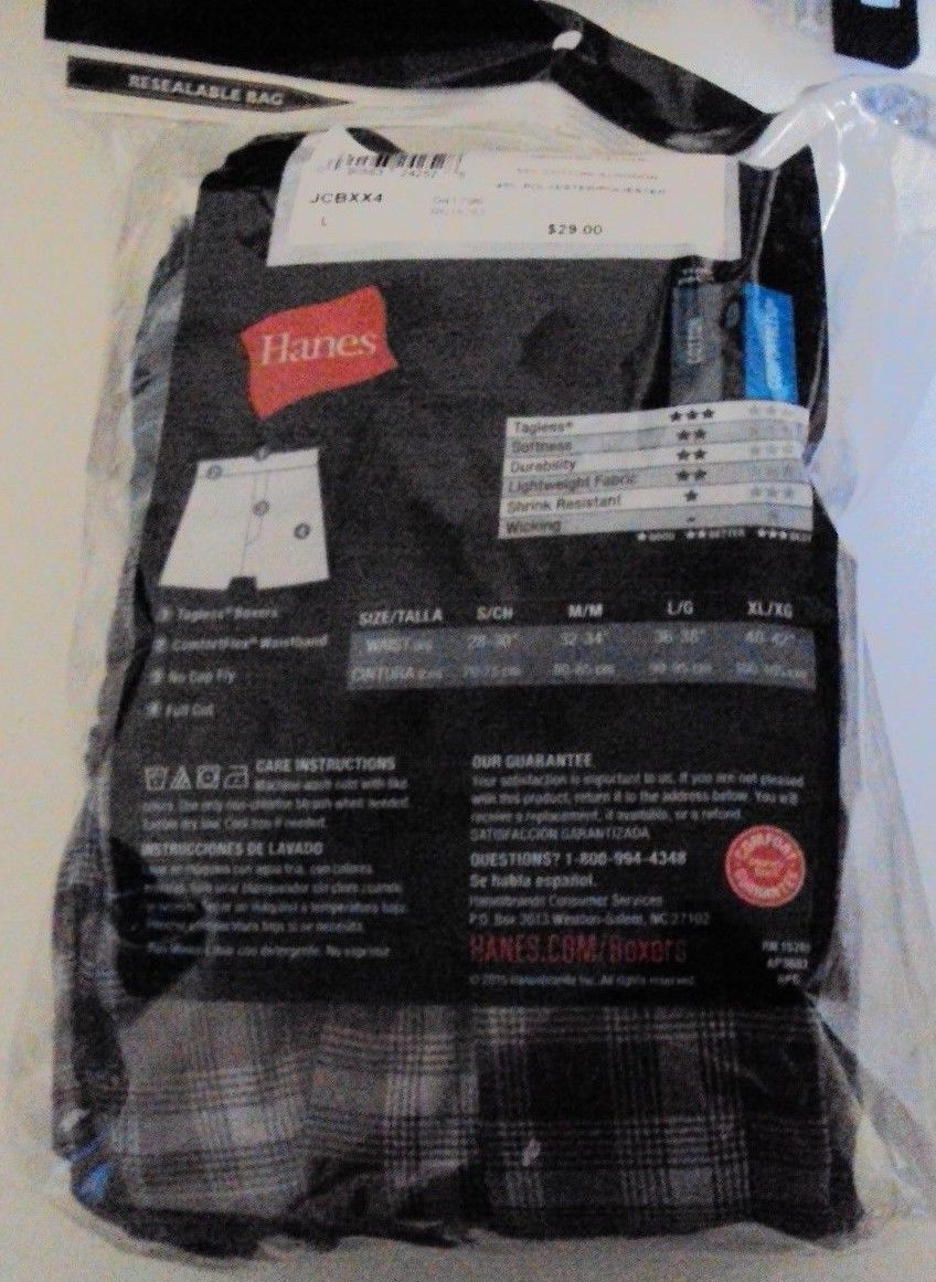 Four Hanes Tagless boxers Cotton Blend Blue Red Gray Tartan Size Large JCBXX4 image 2