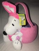 Peanuts Snoopy Easter Basket w/Sound Plush Beagle Pink Checks & Tags Egg - $16.99