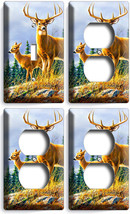 Whitetail Deer Buck 1 Light Switch 3 Outlet Wall Plates Hunting Cabin Room Decor - $35.09