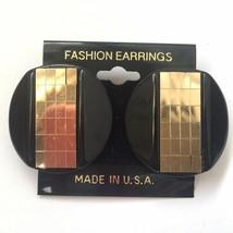 Vintage Large Shiny Tile Round Pierced Earrings Silver Tone Black Plasti... - $10.25