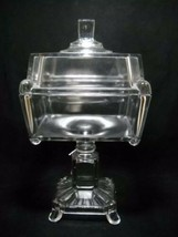 Antique EAPG Adams Large Glass Covered Compote w/ Lid Crystal Wedding c1... - $98.18