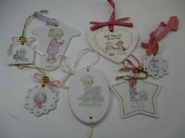 7 Precious Moments Flat Christmas Ornaments Assorted Sizes - $9.99