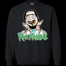 Rick Malone Funny Post Malone Mixed Rick Morty G180 Black Sweatshirt 8oz Unisex - $28.66