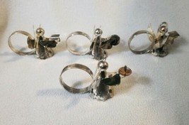 Set 4 Vintage International Silver Co Christmas Angel Napkin Rings Christmas  - $15.51