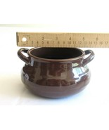 Longaberger Woven Traditions Pottery Soup Tureen Bowl Chili CHOCOLATE BROWN - $12.99