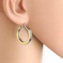 Sleek Polished Tri-Color Silver, Gold & Rose Tone Hoop Earrings- United Elegance - $12.99