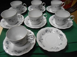 JOHANN HAVILAND Traditions BLUE GARLAND 7 CUPS & SAUCERS 1 FREE Saucer-T... - $20.50