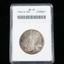1942-D 50¢ Walking Liberty Half Dollar Coin, Graded MS-65,  KM# 142 - $187.11