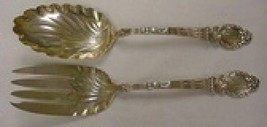 "No Pattern by Durgin Sterling Silver Salad Serving Set Gold Washed Fancy 8 7/8"" - $435.20"