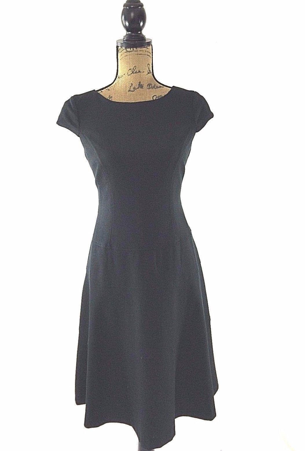 Anne Klein dress 6 medium classic black texture cap sl A line tier lined work LN