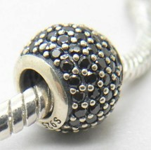 Genuine Pandora S925 Black Pave CZ Ball Charm 791051NCK - $20.56