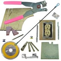 Tile & Glass Cutter Kit Pnk LH Curve Outlet Jigsaw Rodsaw Grinder Blade 5 Drills - $73.87
