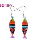 Drop Fish Brand Earrings Acrylic Big Long Danlge Earrings Cute Animal Ne... - $9.19