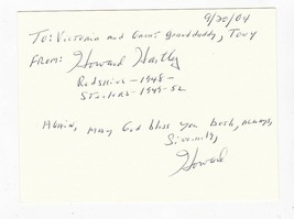HOWARD HARTLEY AUTOGRAPHED HAND WRITTEN LETTER ON CARD STEELERS NFL - $7.68
