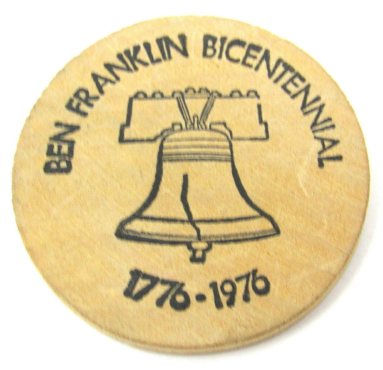 Primary image for 2 Wooden Nickels USFD 17 Franklin Square NY Give A Cheer for Bicentennial Year