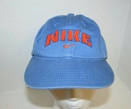 Nike distressed one size baseball hat cap adjustable blue orange mens vintage  - $22.27