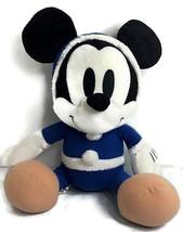 "Disney Mickey Mouse Winter Plush 15"" Sega Prize Blue White Hoodie Hard T... - $17.77"