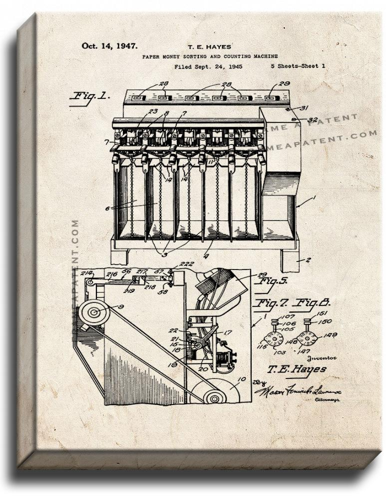 Primary image for Paper Money Sorting and Counting Machine Patent Print Old Look on Canvas