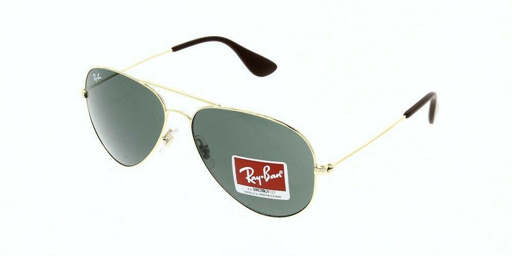 Rayban RB3558 001/71 Gold Grün Grau Aviator Sonnenbrille 58mm Authentisch
