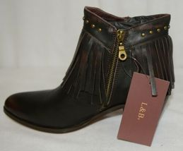Lucky And Blessed SH 11 Dark Brown Leather Boots Fringe Metal Studs Size 10 image 6