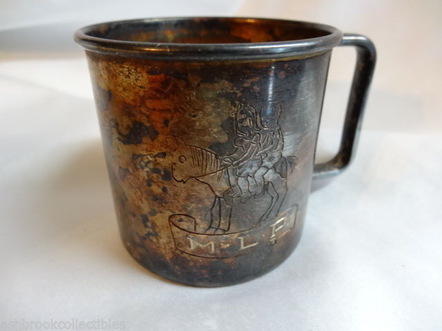 Primary image for Antique 1881 Rogers Silver Plate Engraved Childs Baby Cup and Box