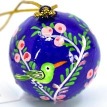 Asha Handicrafts Hand Painted Papier-Mâché Blue Bird Holiday Christmas Ornament  image 2