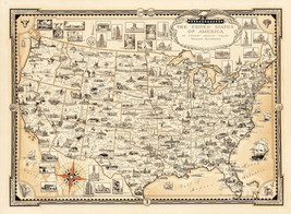Vintage Pictorial Centennial Map of Texas Revolution Historic Wall Art Poster