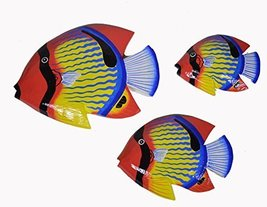 Beautiful Unique Set of 3 BLUE STRIPED Dory Nemo Fish Wood Hanging Wall Art - $27.71