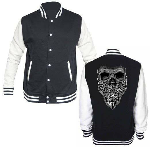 Skull Bandana Biker  LETTERMAN VARSITY BASEBALL BLACK/WHITE FLEECE JACKET - $29.69