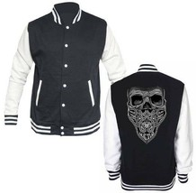 Skull Bandana Biker  LETTERMAN VARSITY BASEBALL BLACK/WHITE FLEECE JACKET image 1