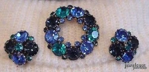 Vtg WEISS Brooch & Earrings Demi-Parure Blue & Green Stunning!
