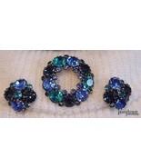 Vtg WEISS Brooch & Earrings Demi-Parure Blue & Green Stunning!  - $69.95