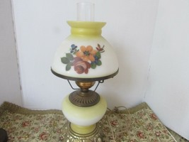 "PORCELAIN HURRICANE LAMP ELECTRIC GWTW HANDPAINTED FLORAL METAL BASE 19""... - $24.70"