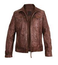 Mens Cafe Racer Vintage Biker Zip Up Motorcycle Brown Distressed Leather Jacket image 2