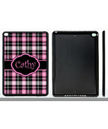 PERSONALIZED RUBBER CASE FOR iPad Air 1 2 Mini 1 2 4 PINK BLACK PLAID - $15.98