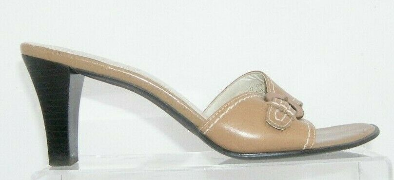 Franco Sarto brown leather buckle slip on slide mule sandal heels 7.5M 7627 image 6