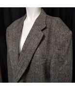 Andhurst Men's Blazer Sports Coat 100% Wool 44R 2 Brass Button Grey Black - $38.48