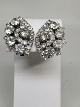 Gorgeous Rhinestone Large Clip On Earrings Weddings Brides - $24.29