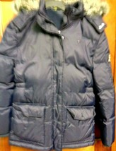 Girls Navy Tommy Hilfiger Puffer 60% Down & Feather Coat Size X L- 16 -18 & Hood - $46.52