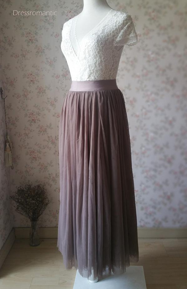 COFFEE High Waisted Plus Size Maxi Skirt Floor Length Bridesmaid Tulle Skirt NWT image 2