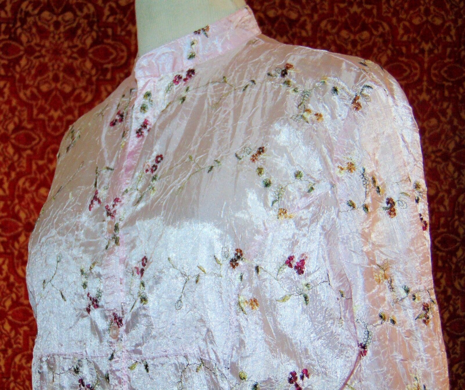CLAUDIA RICHARD pink floral polyester 3/4 sleeve button blouse M (T43-04E9G) image 4