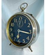 Antique WESTCLOX Silver Nickel BIG BEN Peg Leg Alarm Clock (Black Face) ... - $73.40