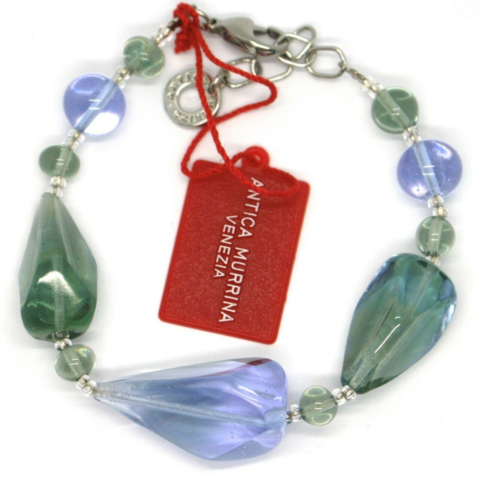 Bracelet Antica Murrina Venezia, Glass Murano, BR513A12, Drops, Green Light Blue